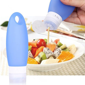(100% Pure Silicone-Recyclable)The Squeezable Leak-Proof Travel Silicone Bottles