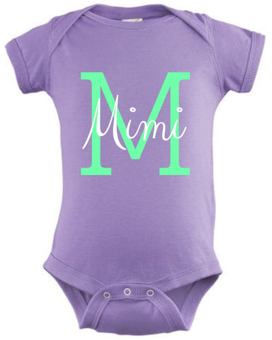 Personalized onesie - bold Initial