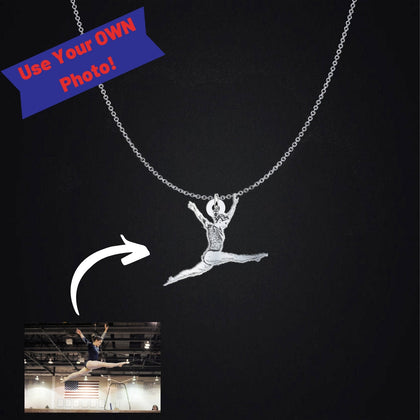 Custom Gymnastics Necklace, Photo Engraved Silhouette Pendant Charm & Chain