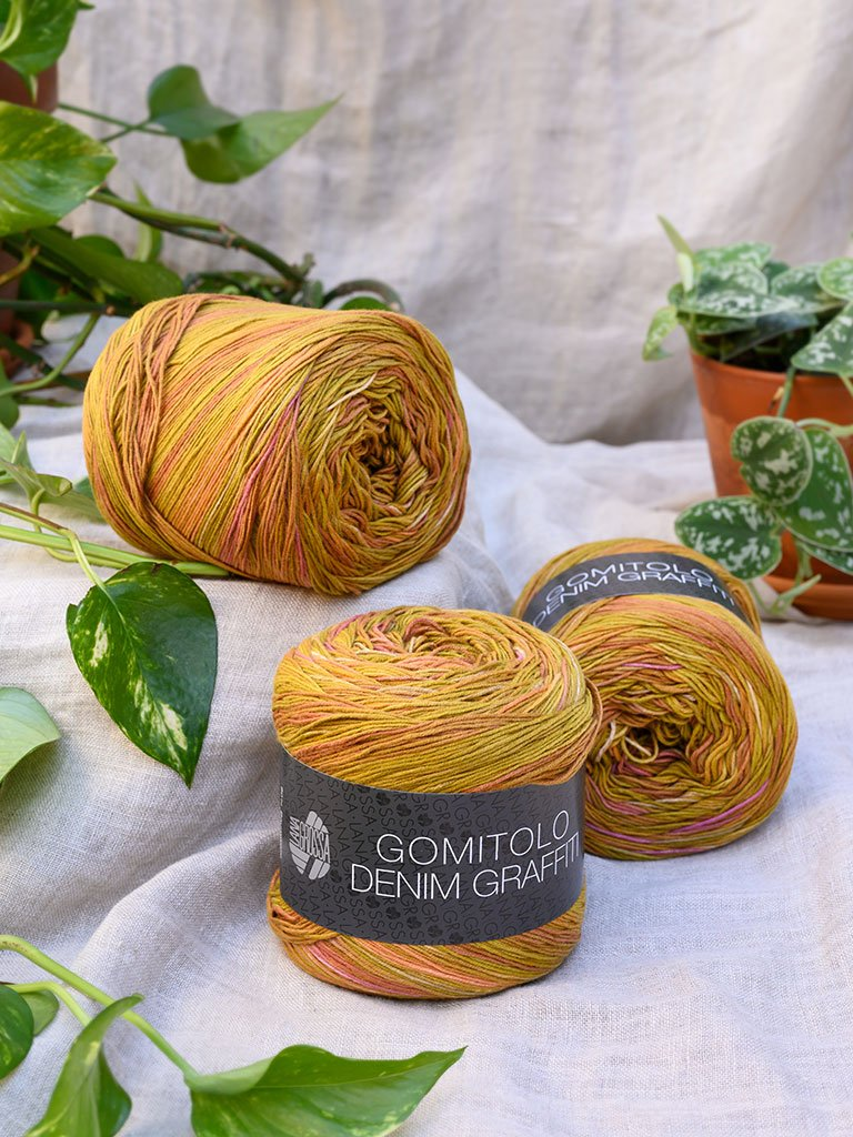 Gomitolo Denim Graffiti 359 Ocker/ Oliv/ Pink/ Orange/ Tonrot/ Elfenbein