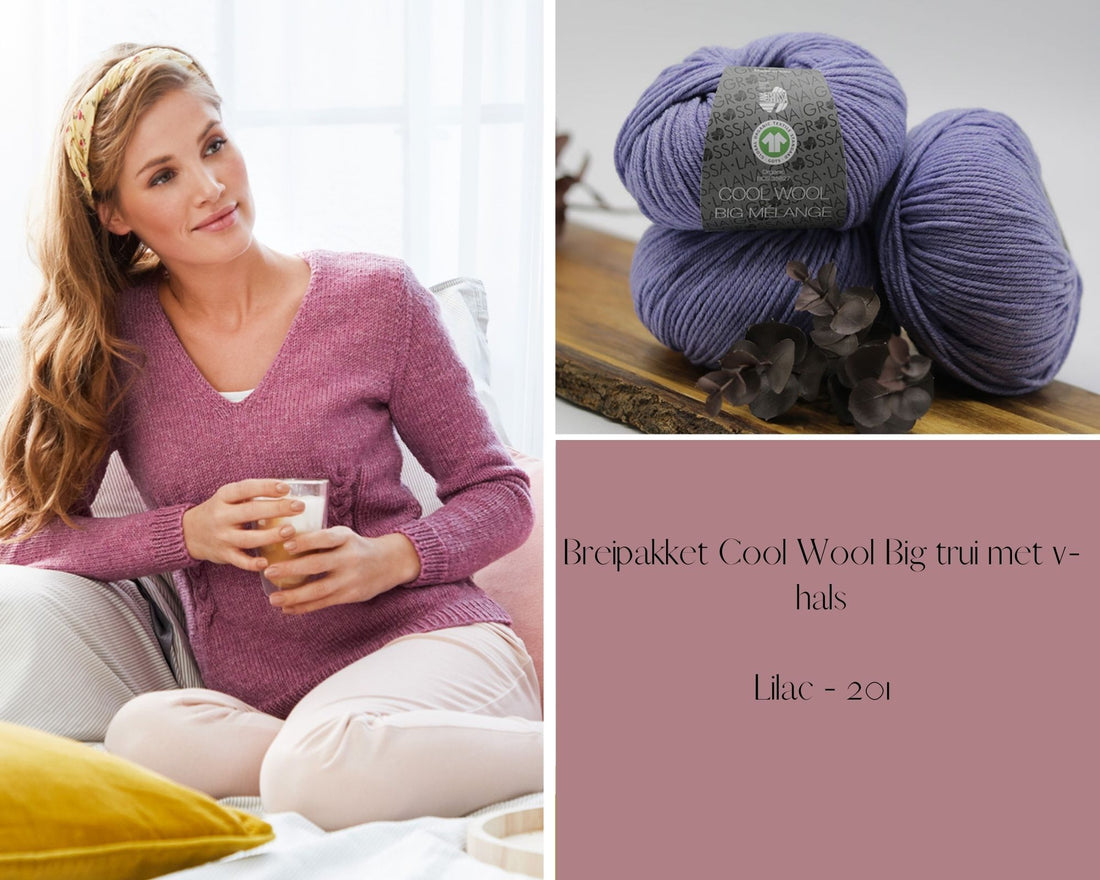 Strickpaket Cool Wool Big Pullover mit V-ausschnitt
