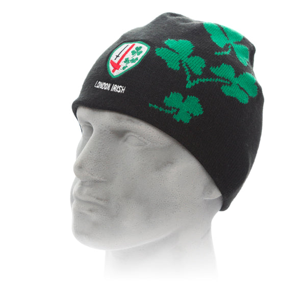 Black Beanie with Green Club Shamrocks