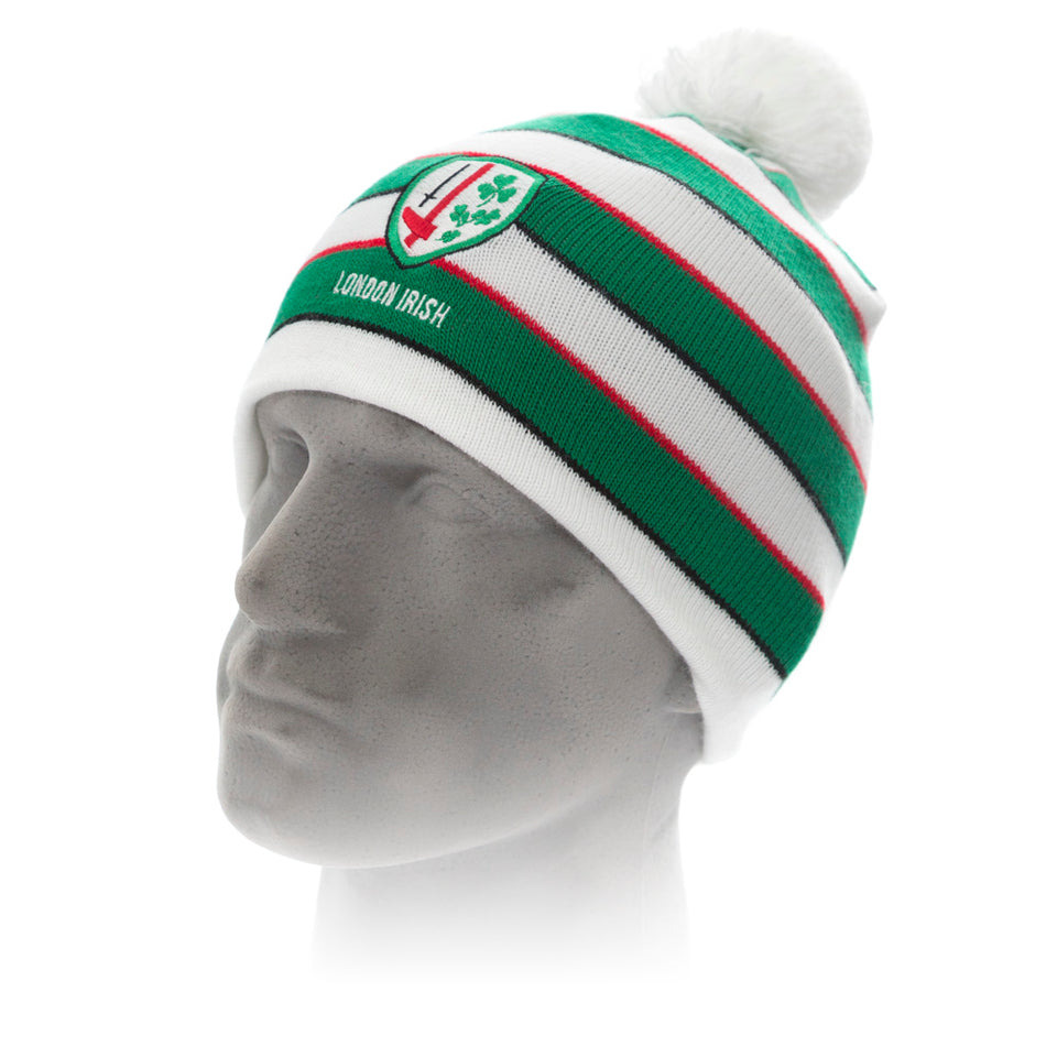 Green & White Hooped Beanie