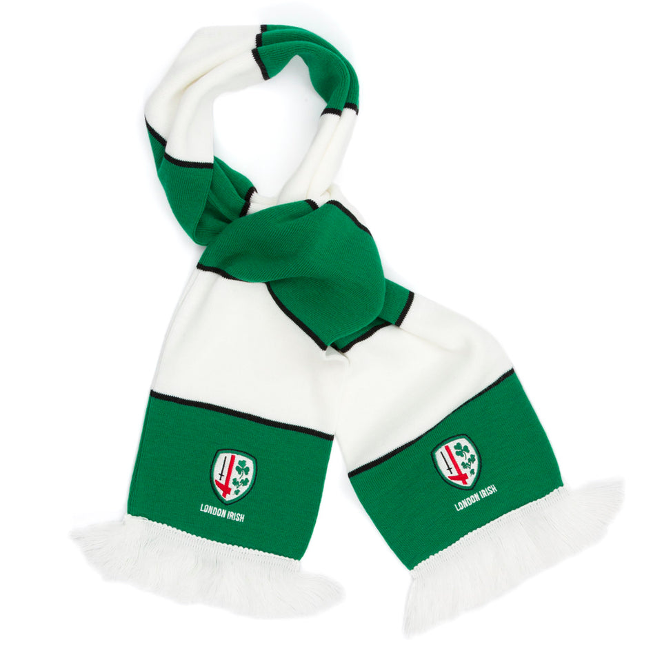 Green & White Hooped Scarf