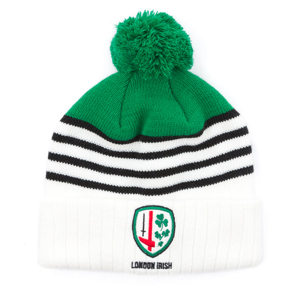 White/Green with Black Stripes Bobble Hat