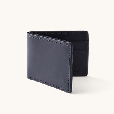 A black leather bifold wallet.