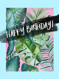 Blue Monstera Birthday Card