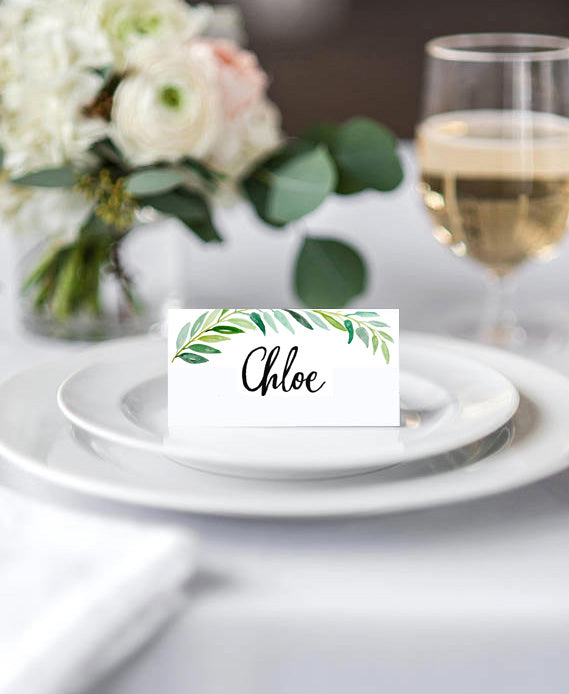 Watercolour Leaves Wedding Place Cards