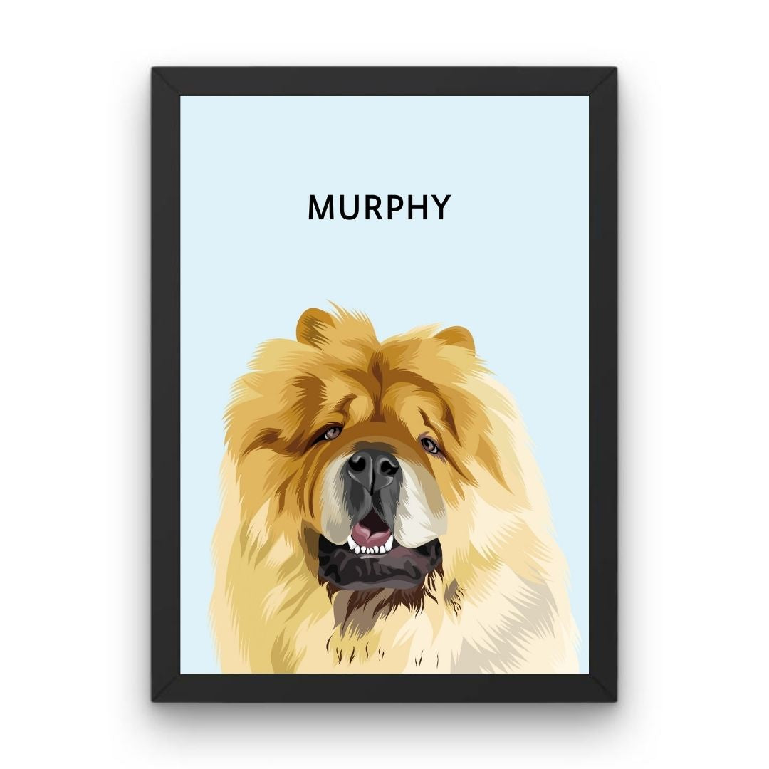Custom Pet Portrait - Framed Print (One Pet)