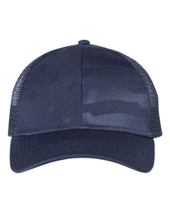 Outdoor Cap - Debossed Stars and Stripes Mesh-Back Cap