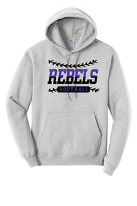 MCC Rebels Softball Port and Co. Hooded Sweatshirt  Design 2