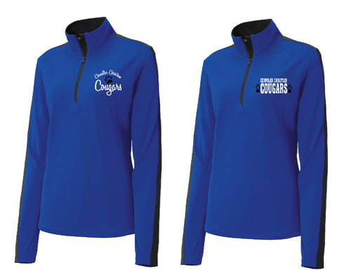 CCS SPORT-TEK LADIES FIT  COLORBLOCK 1/4 ZIP- LEFT CHEST EMBROIDERY
