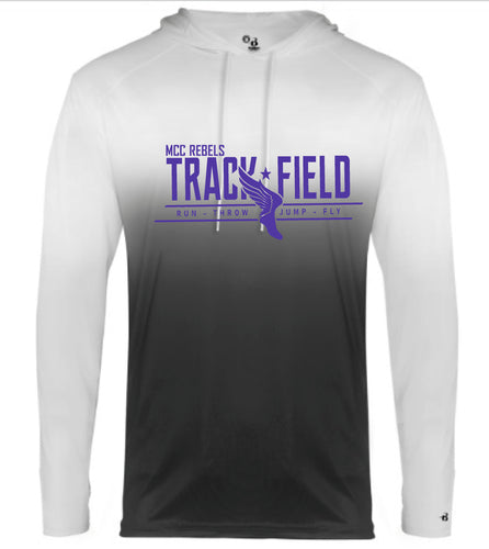 MCC TRACK & FIELD OMBRE BLACK  LONG SLEEVE HOODED TSHIRT #1