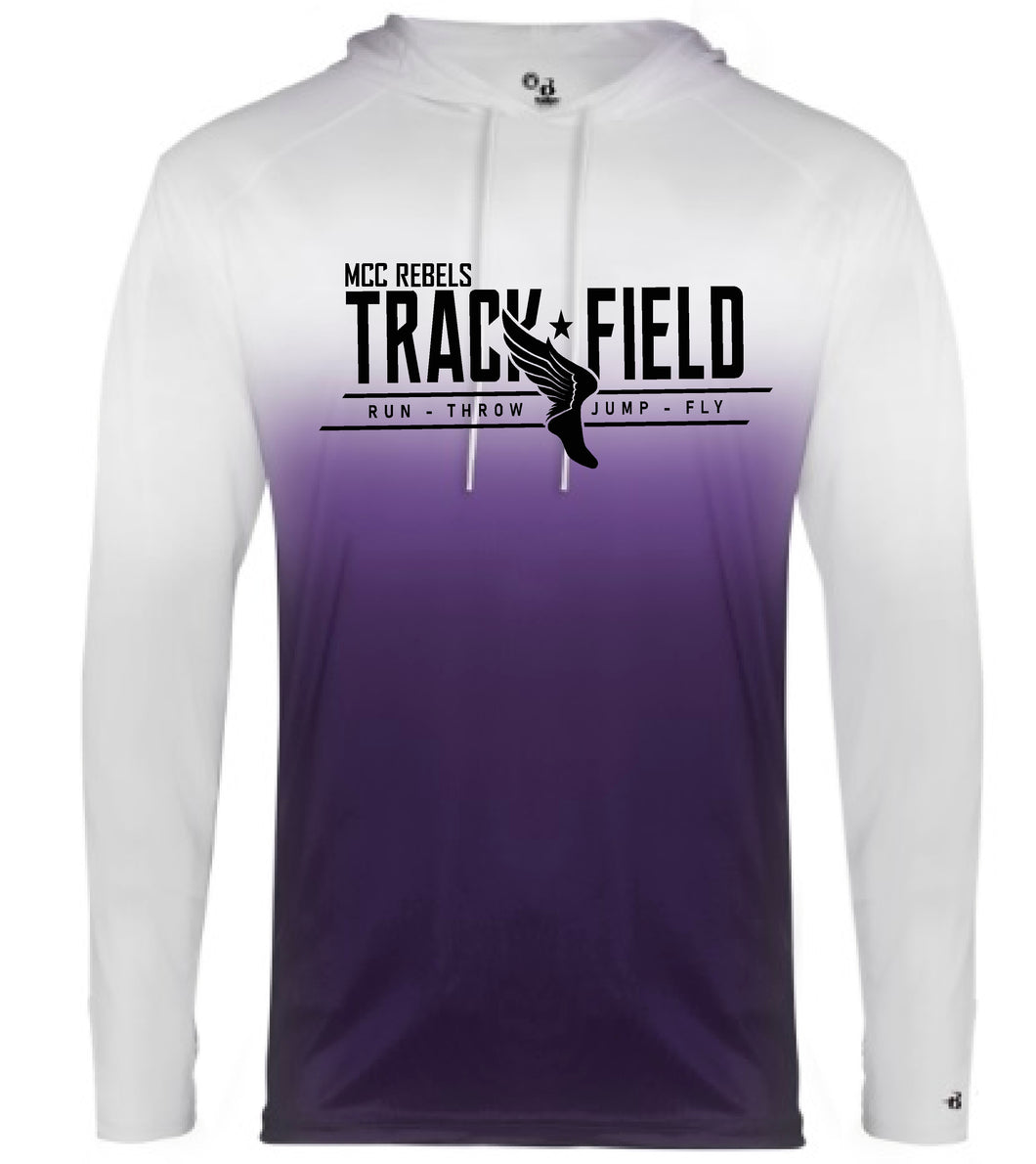 MCC TRACK & FIELD OMBRE PURPLE  LONG SLEEVE HOODED TSHIRT #1