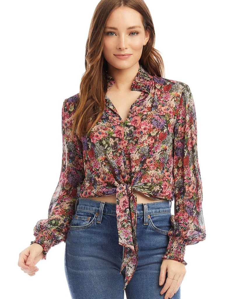 Floral Smocked Tie-Front Top