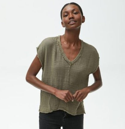 V-Neck Gauze Top