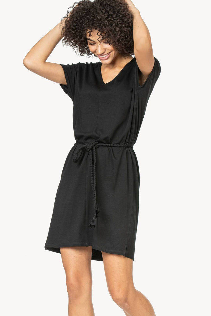 Braided Belt V-Neck Dress