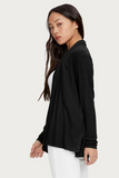 Open Ribbed Black Cardigan (One Size)