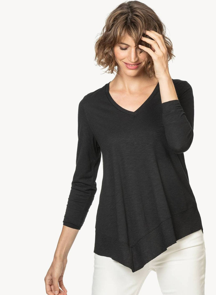 3/4 Sleeve Asymmetrical Hem -Black only