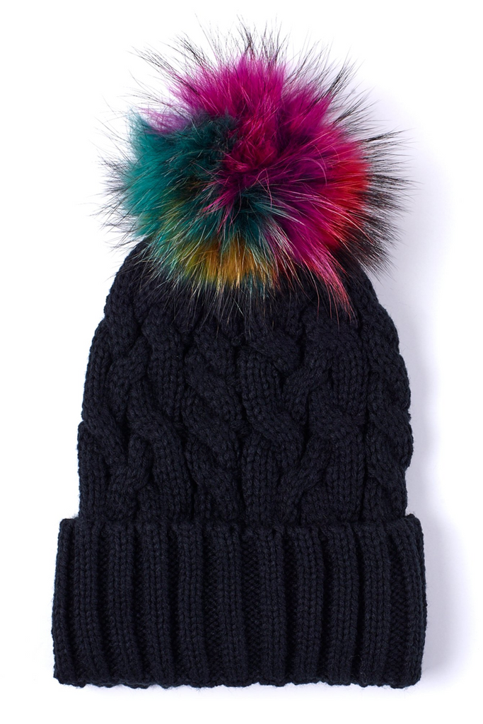 Cable Hat w Fur Pom -Black