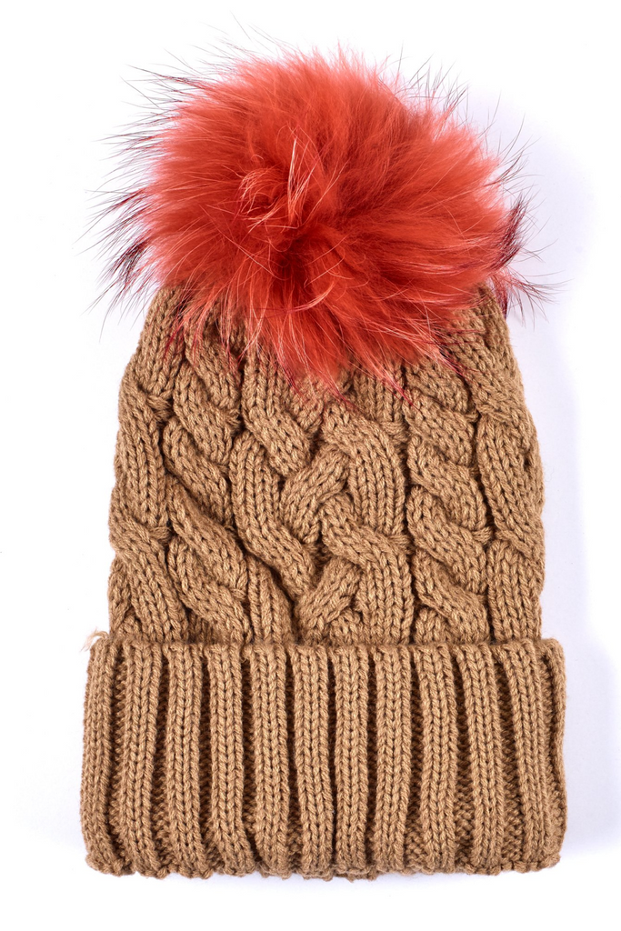 Cable Hat w Fur Pom - Camel