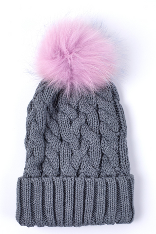 Cable Hat w Fur Pom - Grey