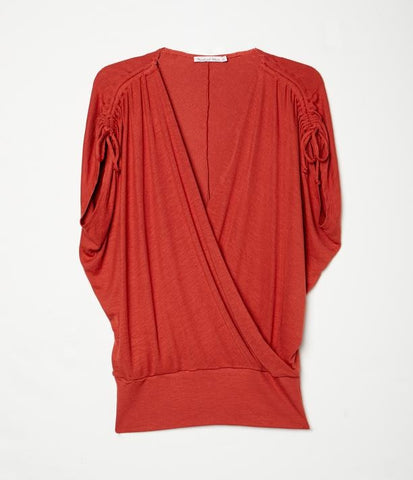 Ruched Sleeve Banded Top