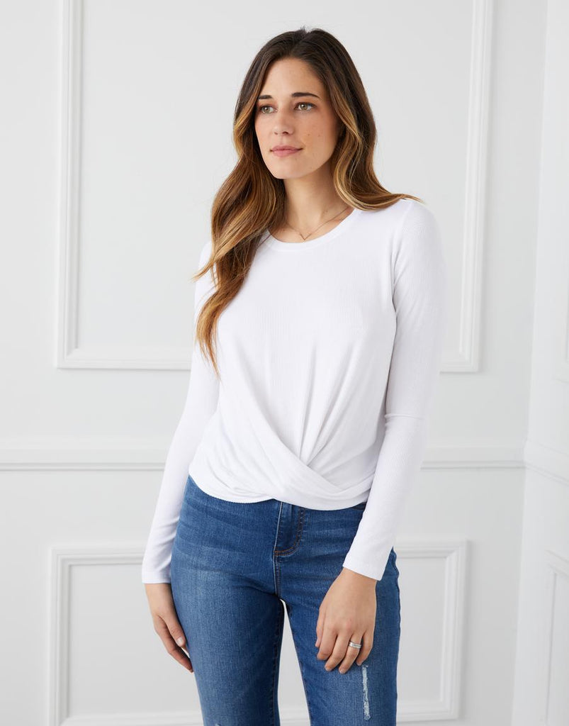 Twist-Front Top (in White, Black and Stripe)