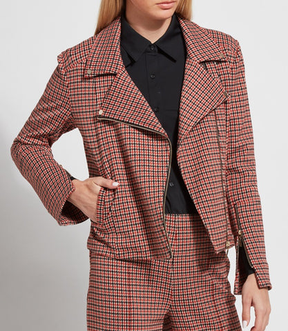 Houndstooth Check Moto Jacket