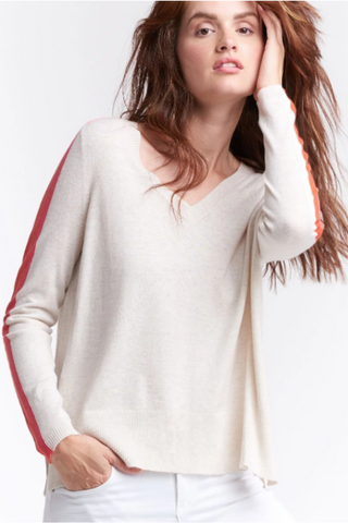 Racing Stripe V-Neck Sweater