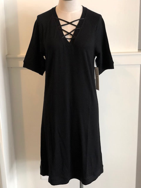 French Terry Laced V-Neck Dress