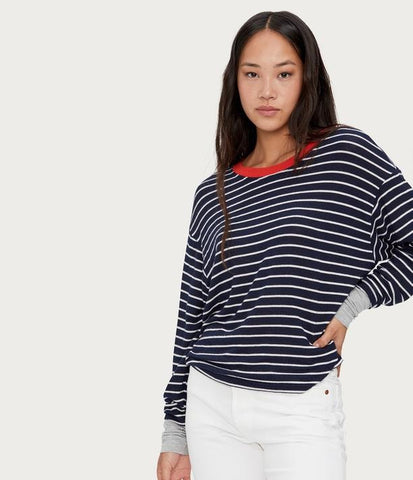 Striped Scoop-Neck Pullover