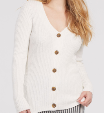 Ribbed Button Cardi