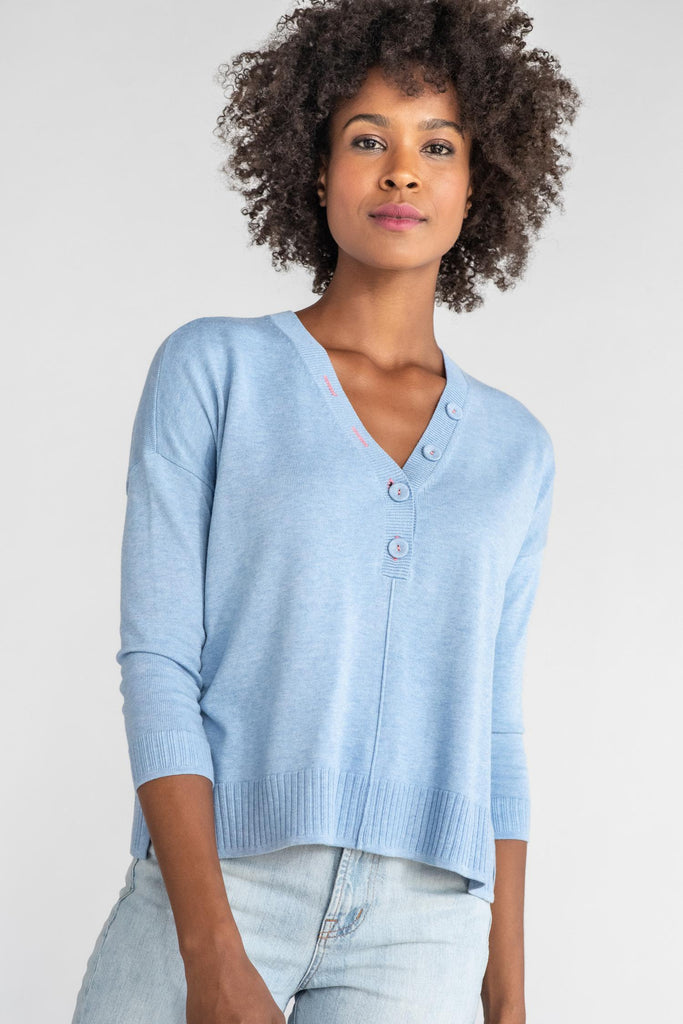 Relaxed Button Henley Sweater