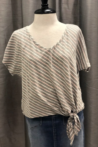 Soft Striped V-Neck w/ Side Tie