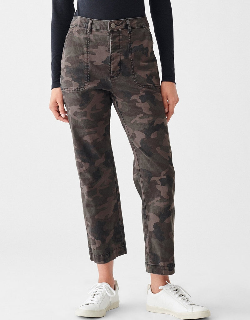 High-Rise Straight Ankle Denim - Camo