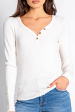 Peachy Ribbed Henley Top