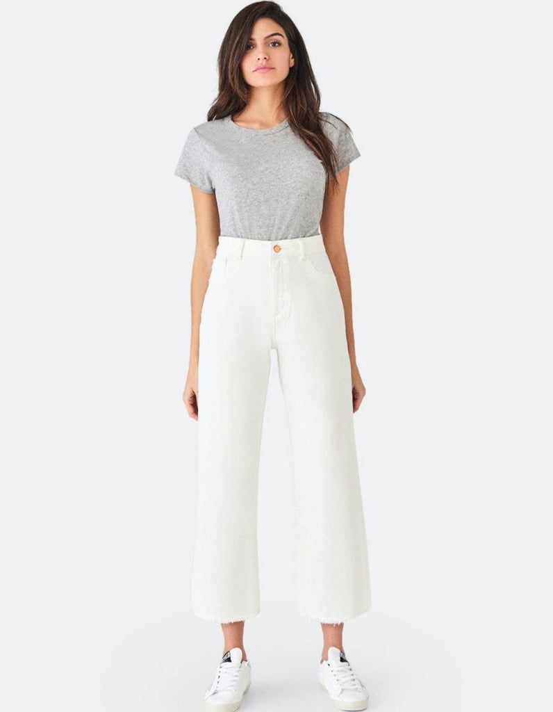 High-Rise Wide Leg Pant - Eggshell