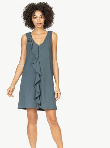 Ruffle Front Dress - Slate