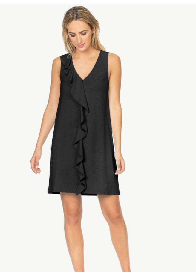 Ruffle Front Dress - Black