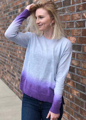 Color Dipped Sweater - Blue Ice