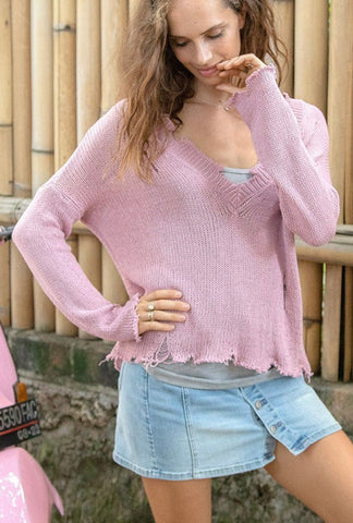 Distressed Cotton Sweater