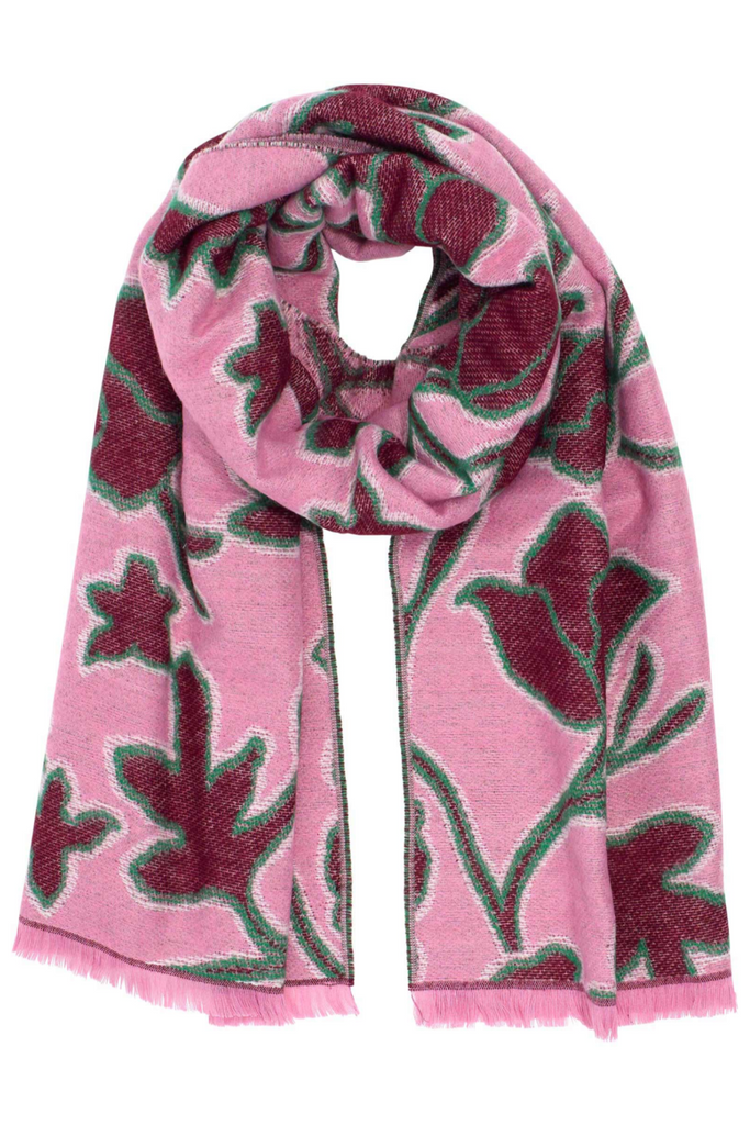 Graphic Floral Jacquard Scarf - Rose
