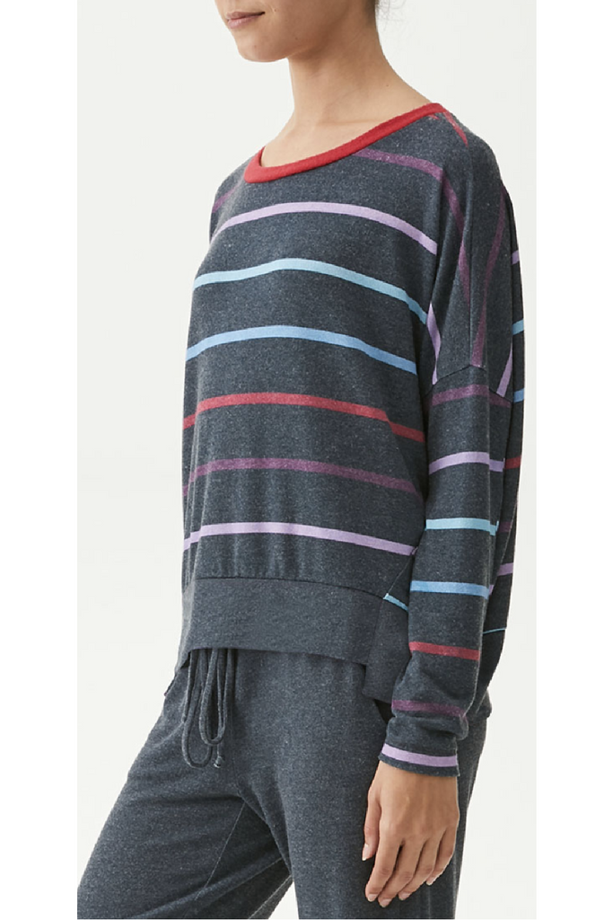 Rainbow Stripe Boatneck Top