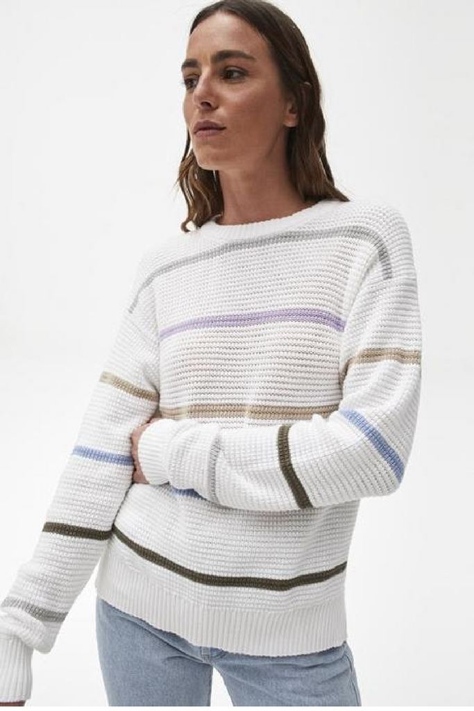 Maggie Stripe Sweater - White