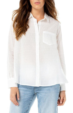 Swiss Dot Oversize White Shirt