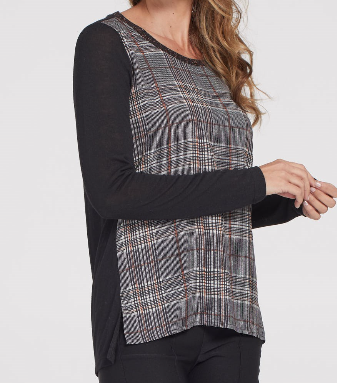 Plaid Print Crepe Top