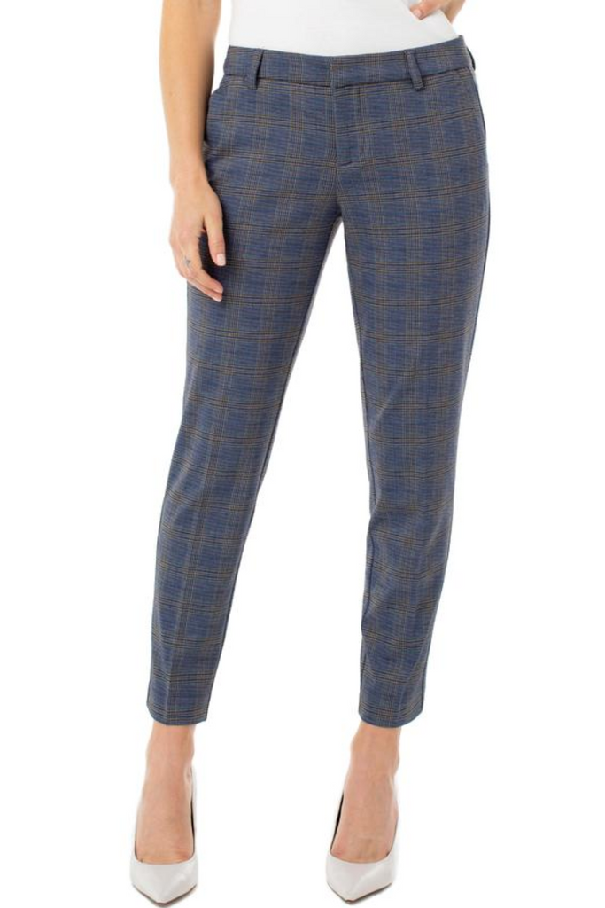 Navy Plaid Knit Trouser