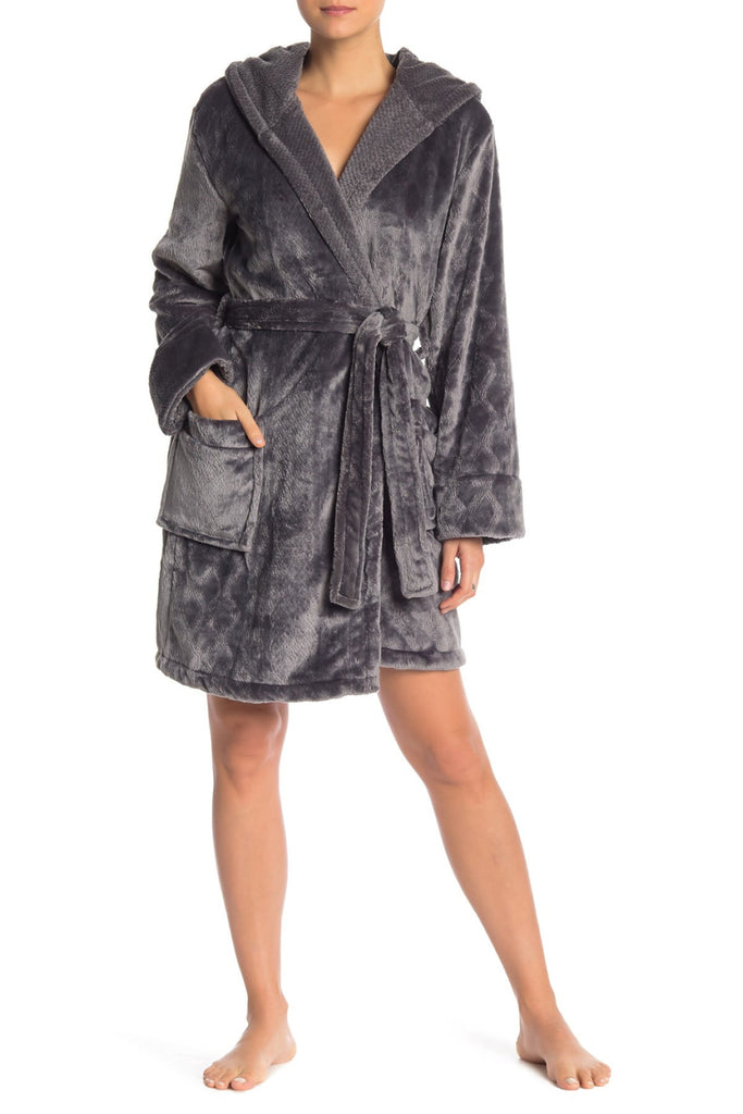 Short Hooded Plush Robe - Grey