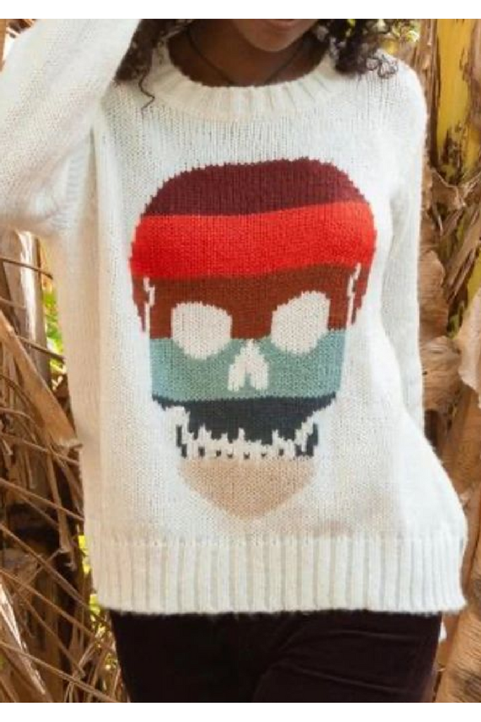 Desert Stripe Skull Sweater